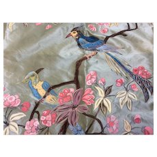 Hand painted on Silk  Bird Panel