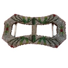 Early 1900's beadwork buckle Christmas design