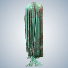 1920's Ladies silk printed shawl