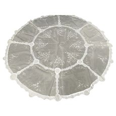 Round White lace linen tablecloth