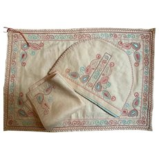 Embroidered 1950's tea cosy & tea cloth