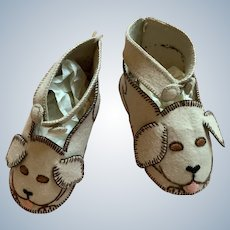 1930' 's Adorable original felt handmade baby's shoes