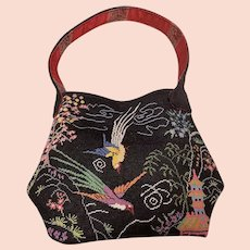 1920's hand embroidered evening bag Chinese figures