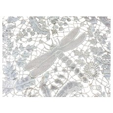 Antique Honiton lace Dragonfly / Butterfly design