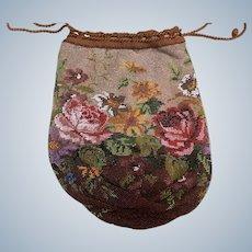 Victorian fine Bead Work flower draw string ladies evening bag