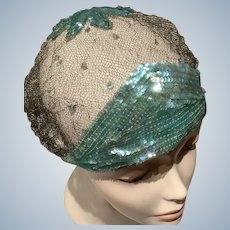 1920's  Sequin evening cloche Hat