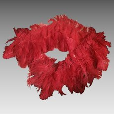 1920's Red Feather Flapper dress trim