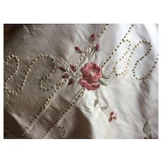 Fine example of hand embroidered & knot work silk/satin fabric