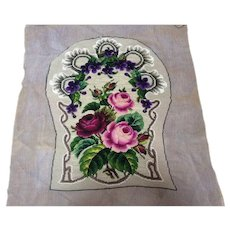 Antique embroidered & beadwork seat & back chair cover