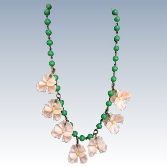 1950's Pink Plastic & Paste  Flower Necklace