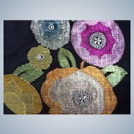 Art Deco 1920's  embroidered panel metallic thread work and stylised brightly coloured flowers.