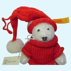 Steiff Miniature Mohair Teddy Bear with Red Sweater