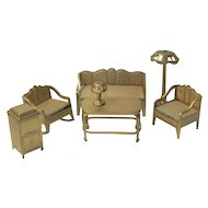 Tootsietoy Gold Furniture Set Sofa Chairs Lamp