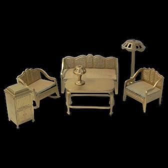 Tootsietoy Gold Furniture Set Sofa Chairs Lamp