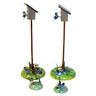 Vintage German Miniature Wood Birdhouses and Blue birds