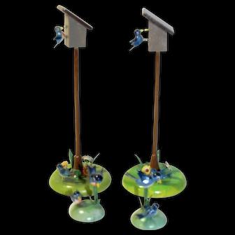 Vintage German Miniature Wood Birdhouses and Blue birds