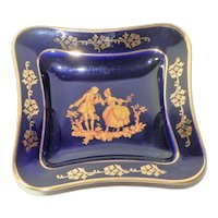 Limoges Blue and Gold Square Candy Dish