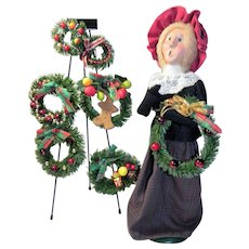 Byers Choice Caroler Wreath Seller with Stand