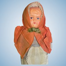 Vintage Cloth Rag Doll with Celluloid Face 10 inch