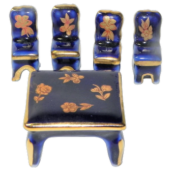 Vintage Limoges Miniature Table and Chairs Blue Gold