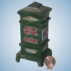 Vintage Dollhouse Miniature Green Metal Parlor Stove