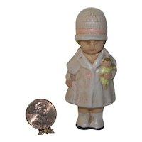 Vintage Metal Dollhouse Doll in Pink Coat
