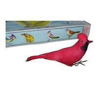 Vintage Cotton Feather Cardinal Birds Set of 10