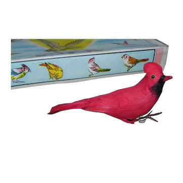 Vintage Cotton Feather Cardinal Birds Set of 10