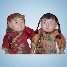 Vintage Composition Chinese Boy and Girl Doll 12 inches