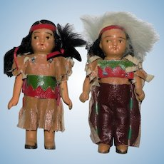 Vintage All Bisque Native American Miniature Doll Boy and Girl