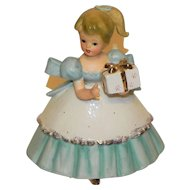 Vintage Napco Planter Girl in Blue and White Dress