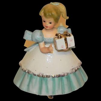 Vintage Napco Planter Girl in Blue and White Dress