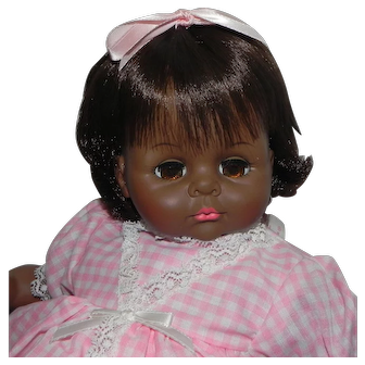 Madame Alexander Black Pussy Cat Doll Pink Dress