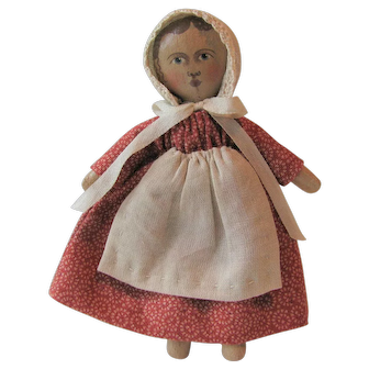 Tiny Izannah Doll by Gail Wilson with Handpainted Features and Handmade Lace 3""