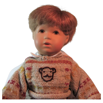 Kathe Kruse Bubi Boy Doll, Red Hair and Brown Eyes, Rumpumpel Style with box 13""