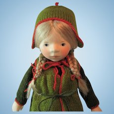 """Elisabeth Pongratz Wooden Blonde Doll in Green & Red Knit Outfit Handmade in Germany 14"""""""