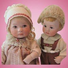 "Maree Massey ""Hansel & Gretel"" Almost Real Porcelain Dolls 7-inch"