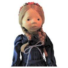 "Elisabeth Pongratz Wooden Doll in Blue Silk Dress Handmade in West Germany 14"""