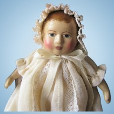 Gail Wilson Miniature Classic Baby Doll and Painted Wooden Cradle with Original Boxes