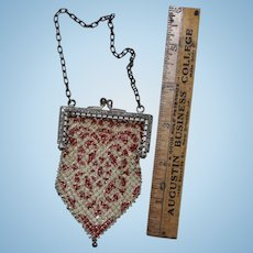 Vintage fashion doll purse, beaded red and white design