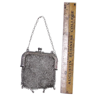 Vintage fashion doll purse, silver mesh