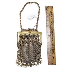 Vintage French fashion doll purse, gold mesh