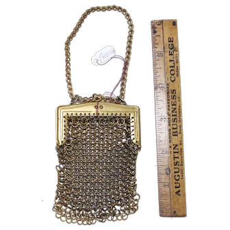 Vintage French fashion doll purse, gold mesh