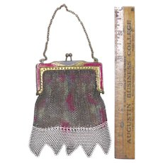 Vintage fashion doll purse, pink and silver mesh