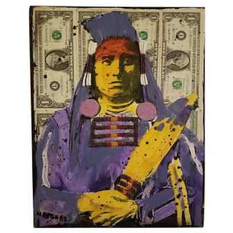 Medicine Crow On Dollar Bills by Star Natchez
