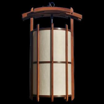 Vintage Danish Modern Teak Hanging Lantern Light