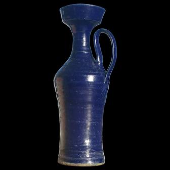 Vintage Mid-Century Paul Volkening Cobalt Blue Glazed Stoneware Pottery Handled Vase