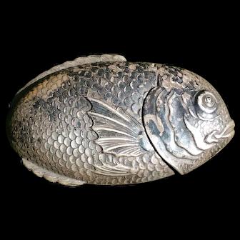 An Antique Silverplate Figural Fish Match Safe