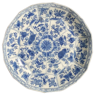 An Antique Chinese Blue and White Porcelain Plate with Birds and Flowers