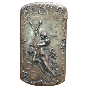 Antique Victorian Sterling Silver Romantic Angel and Woman Figural Match Safe